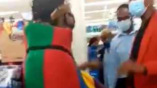 Boulders Shopping Centre mall manager Jose Maponyane squared up with Ndebele activist Thando Mahlangu over his traditional dress at the mall. Picture: Screengrab