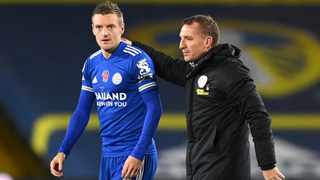 Leicester City manager Brendan Rodgers and striker Jamie Vardy have contributed greatly to the Foxes' success. Picture: Michael Regan/Reuters