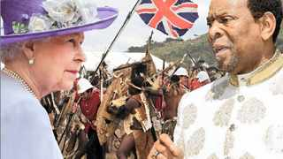 A composite image shows the British monarch, Queen Elizabeth II, squaring off against King Goodwill Zwelithini in an imaginary encounter. The king said on Tuesday that he felt the British royals should pay the Zulu people compensation for the destruction of the Ondini Palace by British troops in 1879. Illustration: Nalane Walker