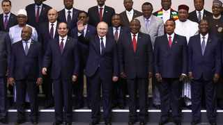 Russian President Vladimir Putin, centre, poses for a photo with leaders of African countries at the Russia-Africa summit in the Black Sea resort of Sochi. File photo: Valery Sharifulin, TASS News Agency Pool Photo via AP.