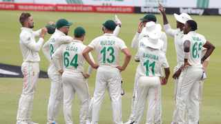 The Proteas celebrate after Lutho Sipamla claimed the wicket of Sri Lanka's Dasun Shanaka during the first Test at SuperSport Park in Centurion. Photo: Samuel Shivambu/BackpagePix
