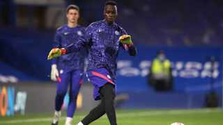Chelsea goalkeeper Edouard Mendy warms up before the Champions League match against Sevilla. Picture: Picture: PA via Reuters