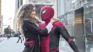 """Zendaya, left, and Tom Holland in a scene from """"Spider-Man: Far From Home"""". Picture: AP"""