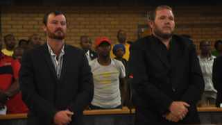 Pieter Doorewaard and Phillip Schutte were found guilty of killing Matlhomola Mosweu in Coligny. The pair will be sentenced on January 28, 2019 at the North West High Court in Mahikeng. Picture: ANA/Stringer