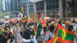 Screenshot of Oromo protest video at Parliament Hill in Ottawa, Canada, posted on Saturday and using hashtags #OromoProtest2020 #OromoLivesMatter #justiceforhanchalu. Picture: Twitter | @StarOromia