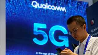 Signs of Qualcomm and 5G are pictured at Mobile World Congress (MWC) in Shanghai, China. Picture: Reuters/Aly Song