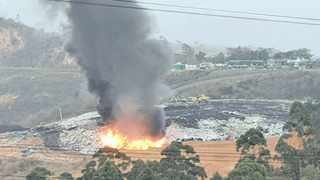 It is alleged that a pile of rubbish was deliberately set alight at the Shongweni landfill site. Picture: Supplied