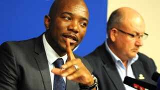 Former DA leaders Mmusi Maimane and Athol Trollip at a press conference in Cape Town. Both Maimane and Trollip announced their resignation from leadership on Wednesday. File picture: Ayanda Ndamane/ African News Agency (ANA).