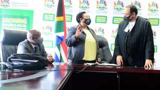 Nomusa Dube-Ncube who was in charge of the powerful Economic Development and Tourism and Environmental Affairs portfolio was moved to Finance. She was sworn in by KZN Judge President, Achmat Jappie. Picture: Supplied.