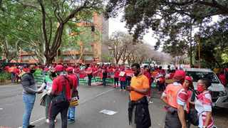Cosatu along with other unions march to the Treasury in the Pretoria CBD. Picture: James Mahlokwane