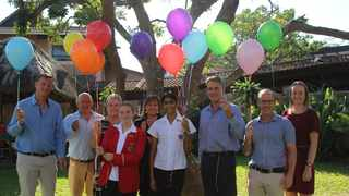 Pictured (from left) are: Mark Charlesworth (Deputy Head of the Senior College), Joe Erasmus (Managing Director), Karen Johnstone (Afrikaans teacher), Danielle Boshoff (top student in the world for physical science and Afrikaans), Jenny van Buuren (Senior College Head), Sashna Govender (top student in South Africa for accounting), Andre Buys (CEO), Ivan Kelly (physical science teacher) and Kelsey Dames (accountingteacher).
