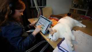 Alice Wilkinson, 8, is joined by her cat Freddie as she does her maths online schooling. Picture: Phil Noble/Reuters