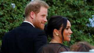 The Duke and Duchess of Sussex, Prince Harry and his wife Meghan, arrive to attend the wedding of fashion designer Misha Nonoo at Villa Aurelia in Rome