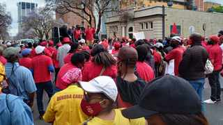Cosatu, Saftu along with other unions march to the National Treasury in the Pretoria CBD. Picture: James Mahlokwane