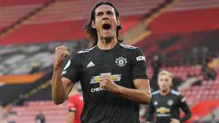 Manchester United's Edinson Cavani celebrates after scoring their second goal in their Premier League game against Southampton at St Mary's Stadium in Southampton on Sunday. Photo: Mike Hewitt/Reuters