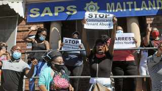A group of people gather in front of the Maitland Police Station to hand over a memorandum and lay charges against Communicare. Picture: Tracey Adams/African News Agency (ANA)
