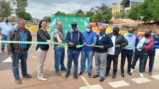 Tshwane's head administrator Mpho Nawa cuts a ribbon officially opening John Vorster Drive after a successful sinkhole repair in Southdowns, Centurion. Picture: James Mahlokwane