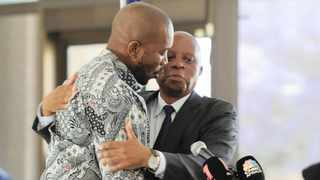 DA leader Mmusi Maimane and outgoing Joburg mayor Herman Mashaba after he announced his resignation from the party and mayoral position. Picture: Karen Sandison/African News Agency (ANA)