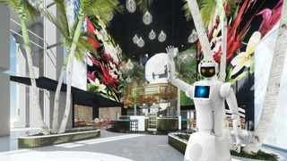 Lexi, Micah and Ariel are three out of six AI-powered robots who will assist with guest relations, luggage and room service at Hotel Sky. Picture: Supplied.