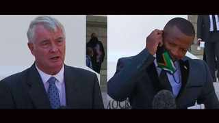 In a clip that has gone viral FF Plus leader Pieter Groenewald is interviewed without a mask. When UDM deputy president Nqabayomzi Kwankwa arrives for his turn to be interviewed he is requested to put on his mask. Picture: eNCA/YouTube/Screenshot
