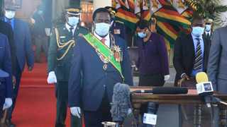 Zimbabwean President Emmerson Mnangagwa (C) attends Heroes' Day commemoration at State House in Harare. Picture: Xinhua/Wanda