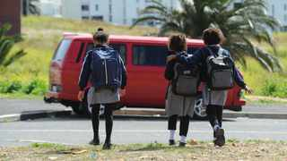 Learners are seen walking towards an area in District 6 where they have to wait for their transport. A community meeting was held on Monday to discuss learner safety in the District 6 and Zonnebloem area. Picture: Henk Kruger/African News Agency(ANA)
