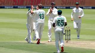 Wiaan Mulder of South Africa celebrates after picking up the wicket of Lahir Thirimanna of Sri Lanka during Day 1 of the second Test at the Wanderers in Johannesburg on Sunday. Photo: Muzi Ntombela/BackpagePix
