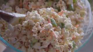 American cookbook author, blogger, and host of the Food Network cooking show Girl Meets Farm Molly Yeh recently went viral over a recent recipe she shared on her show. It contains piles of soggy-looking popcorn as well as peas. Picture: YouTube