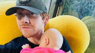 Rupert Grint and his daughter Wednesday. Picture: Instagram