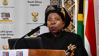 Cooperative Governance and Traditional Affairs Minister, Dr Nkosazana Dlamini Zuma leads a media briefing following the address to the nation by President Cyril Ramaphosa. Picture: Siyabulela Duda/GCIS