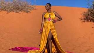 South African multi-platinum award winner Lerato Molapo known by her stage name as Lira wearing a local designer dress as part of the Namibian tourism promotion. Picture: Otarel Music/NAMPA