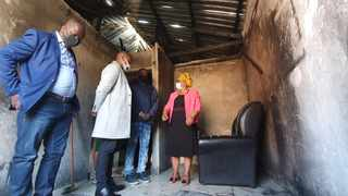 Mduduzi Hlubi showing MEC for Cogta Sipho Hlomuka, MEC for Social Development Nonhlanhla Khoza and the Alfred Duma Local Municipality Mayor Cllr Mandla Madlala the scene of the tragic incident where four lives were lost when a fire broke out in the house. Picture: Supplied