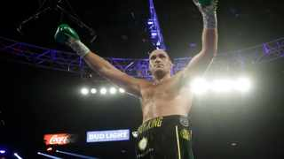 Tyson Fury, of England, celebrates during a WBC heavyweight championship boxing match against Deontay Wilder in Las Vegas. Picture: Isaac Brekken/AP