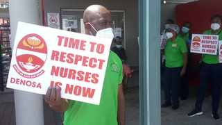 Health workers outside the Pietersburg hospital, picketing and drumming up support for the massive strike. Picture: Supplied