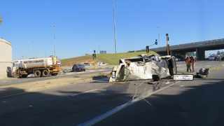 Two people were killed and 15 injured after three vehicles were involved in a crash on the N12 Freeway/ Snake Road turn-off in Benoni, Ekurhuleni, on Monday morning. PHOTO: Supplied