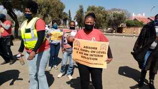 Community health workers demonstrate in the Northern Cape. Picture: Supplied by Kagiso Mokoe