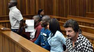 A file picture of Koos Strydom (black and white shirt), his young wife Mercia Strydom and from left, co-accused Aaron (James) Sithole, Jack Sithole and Alex Modau accused of the murders of Anisha and Joey van Niekerk in the high court in Pretoria. Picture: Oupa Mokoena/African News Agency (ANA)