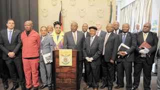 PRESIDENT Cyril Ramaphosa and Deputy President David Mabuza, third right, yesterday met with the leaders of all the political parties represented in Parliament concerning the global coronavirus pandemic. All leaders agreed that the Covid-19 outbreak poses a real threat to the lives, livelihoods and prosperity of South Africans. Armand Hough African News Agency (ANA)