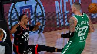 Toronto Raptors guard Norman Powell, left, scored 24 points in his team's win against the Boston Celtics. Picture: Mark J. Terrill/AP
