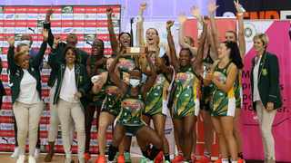 The Proteas celebrate their Tri-Nations Netball Challenge win. Picture: Reg Caldecott/Netball SA