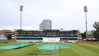 General view of the rain covers during the CSA 4-Day Series final between the Dolphins and Titans at the Kingsmead Stadium in Durban on Thursday. Photo: Muzi Ntombela/BackpagePix