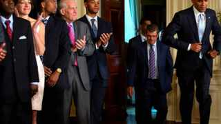 President Barack Obama (far right) jogs to an event honouring basketball players in the East Room of the White House, in Washington. Obama's health is excellent, according to medical personnel. File picture: Jacquelyn Martin