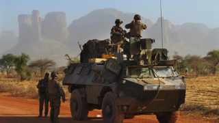 French soldiers in an armoured vehicle stop for a break near the mountains north of Douentza, Mali. File picture: David Lewis/Reuters