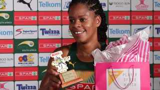 South Africa's Tshina Mdau celebrates with her Player of the Match award on her debut against Malawi. Photo: @Netball_SA