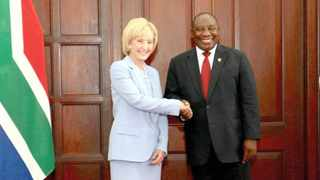 US ambassador to South Africa Lana Marks with President Cyril Ramaphosa. File picture: GCIS