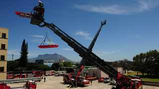 The City's Fire and Rescue Service on Thursday held a display for the new Rosenbauer Metz Turntable Ladder L56 at the Epping Training Academy. Picture: Henk Kuger/African News Agency