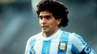 Diego Armando Maradona rose to stardom from a grimy Buenos Aires slum to lead Argentina to World Cup victory. Picture: AFP