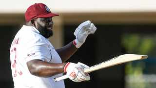 All-rounder Rahkeem Cornwall kept the hosts in the driving seat after the second day of the first test in North Sound, Antigua. Photo: @Windies via Twitter