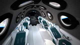 The interior cabin of billionaire Richard Branson's space tourism firm Virgin Galactic's SpaceShipTwo is seen in an artist's rendition. Picture: Virgin Galactic/Handout via Reuters