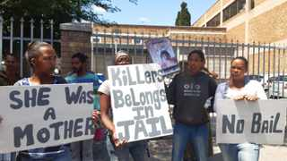 Family and friends protest outside the Athlone Magistrate's Court. Picture: African News Agency (ANA)